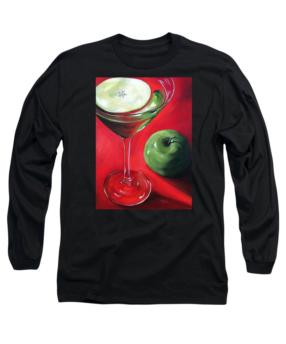 Martini Long Sleeve T-Shirt featuring the painting Green Apple Martini by Torrie Smiley