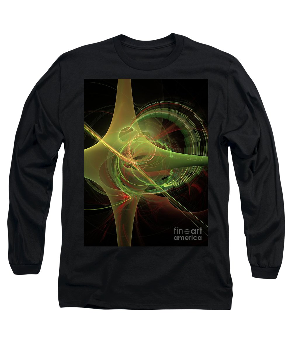 Long Sleeve T-Shirt featuring the digital art Green Energy Tunnel by Deborah Benoit