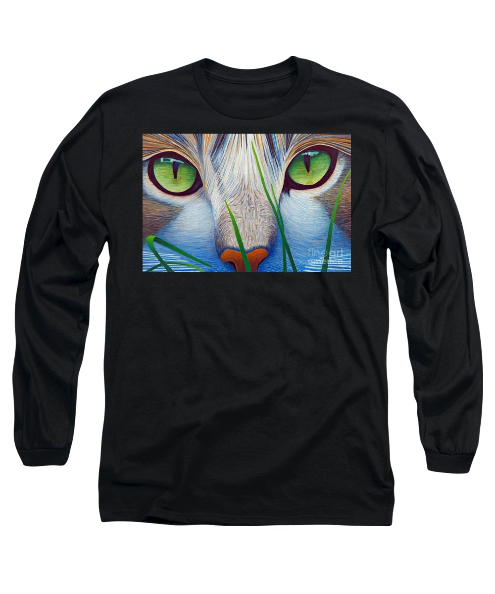 Cat Long Sleeve T-Shirt featuring the painting Green Eyes by Brian Commerford