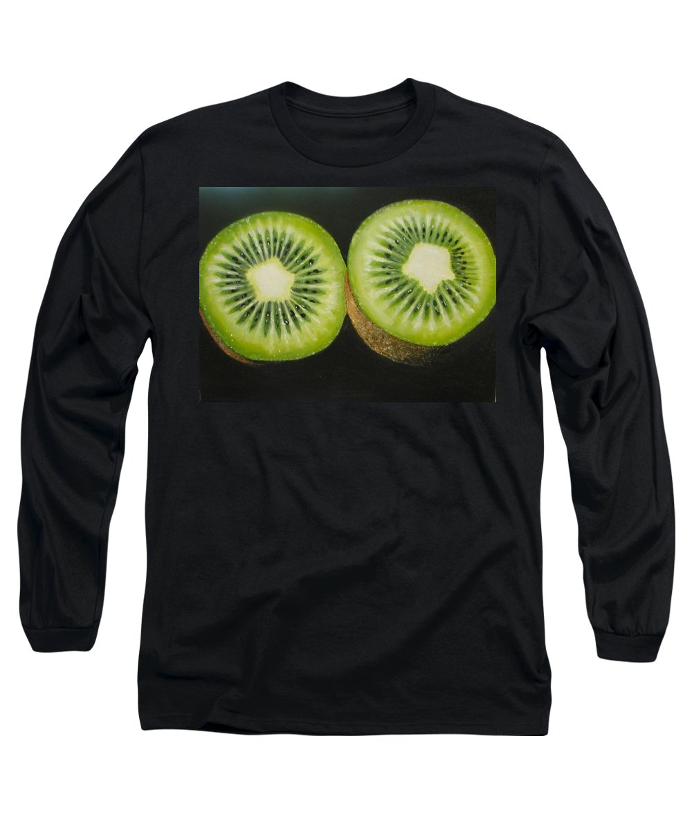 Kiwi Long Sleeve T-Shirt featuring the painting Green Kiwi Oil Painting by Natalja Picugina
