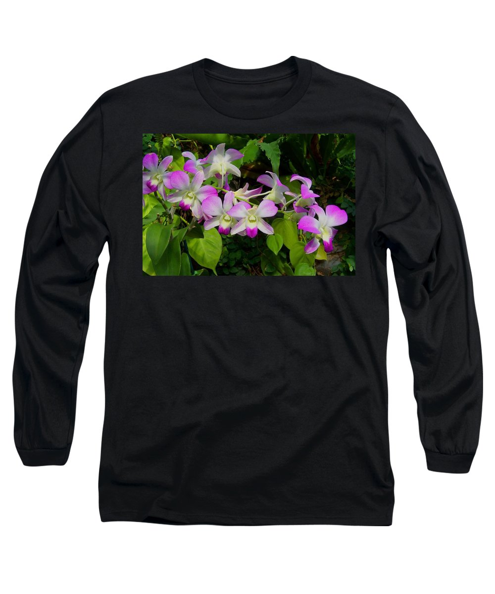 Orchid Long Sleeve T-Shirt featuring the photograph Green Leaves With Orchids by Laurie Paci