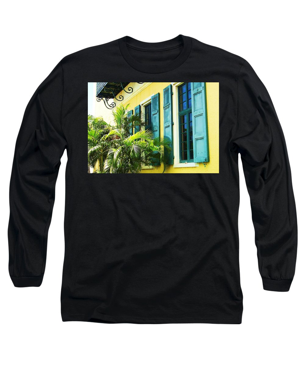 Architecture Long Sleeve T-Shirt featuring the photograph Green Shutters by Debbi Granruth