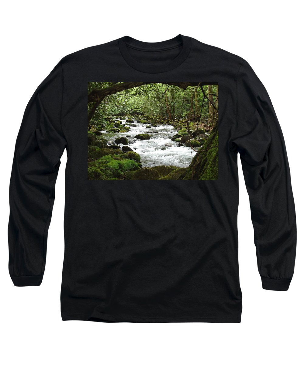 Smoky Mountains Long Sleeve T-Shirt featuring the photograph Greenbrier River Scene 2 by Nancy Mueller