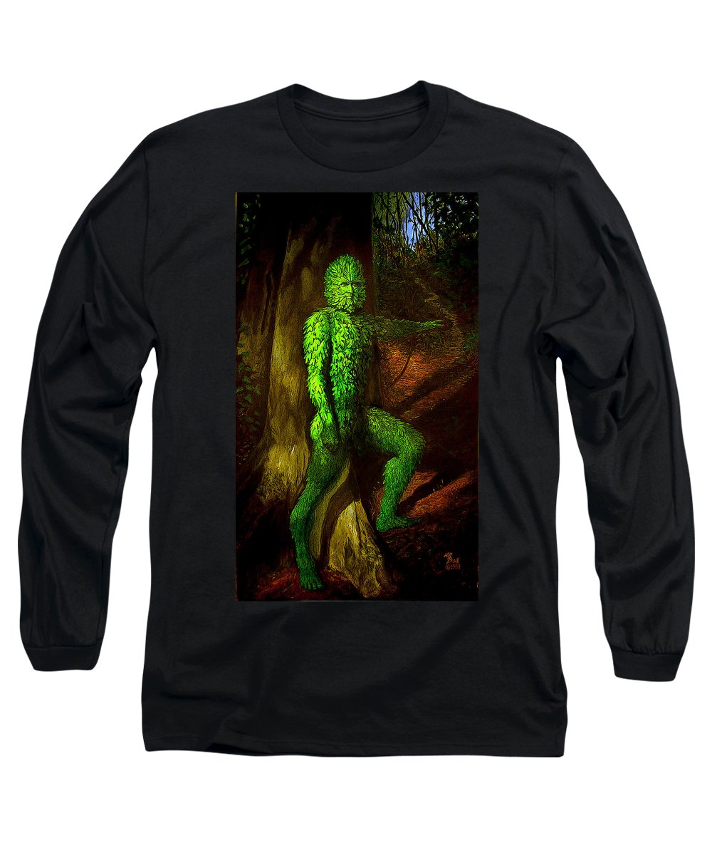 Myth Long Sleeve T-Shirt featuring the mixed media Greenman by Will Brown