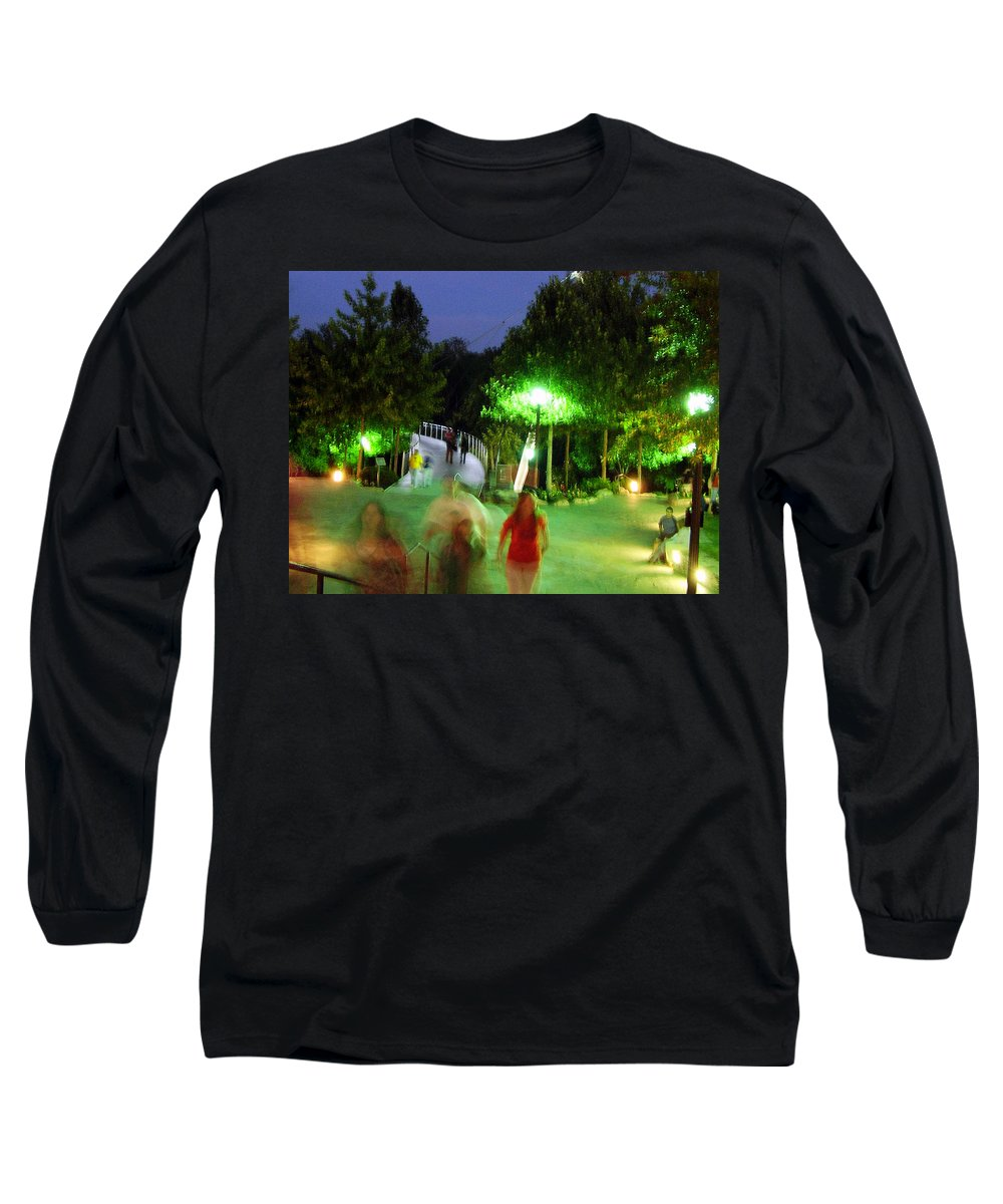 Falls Park Long Sleeve T-Shirt featuring the photograph Greenville At Night by Flavia Westerwelle