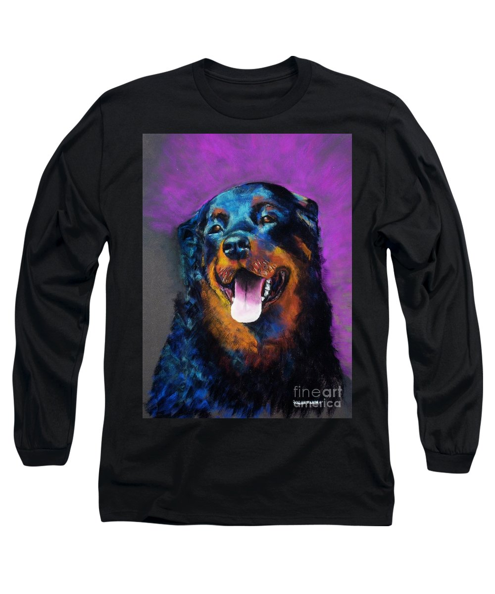 Rottweiler Long Sleeve T-Shirt featuring the painting Gretchen by Frances Marino