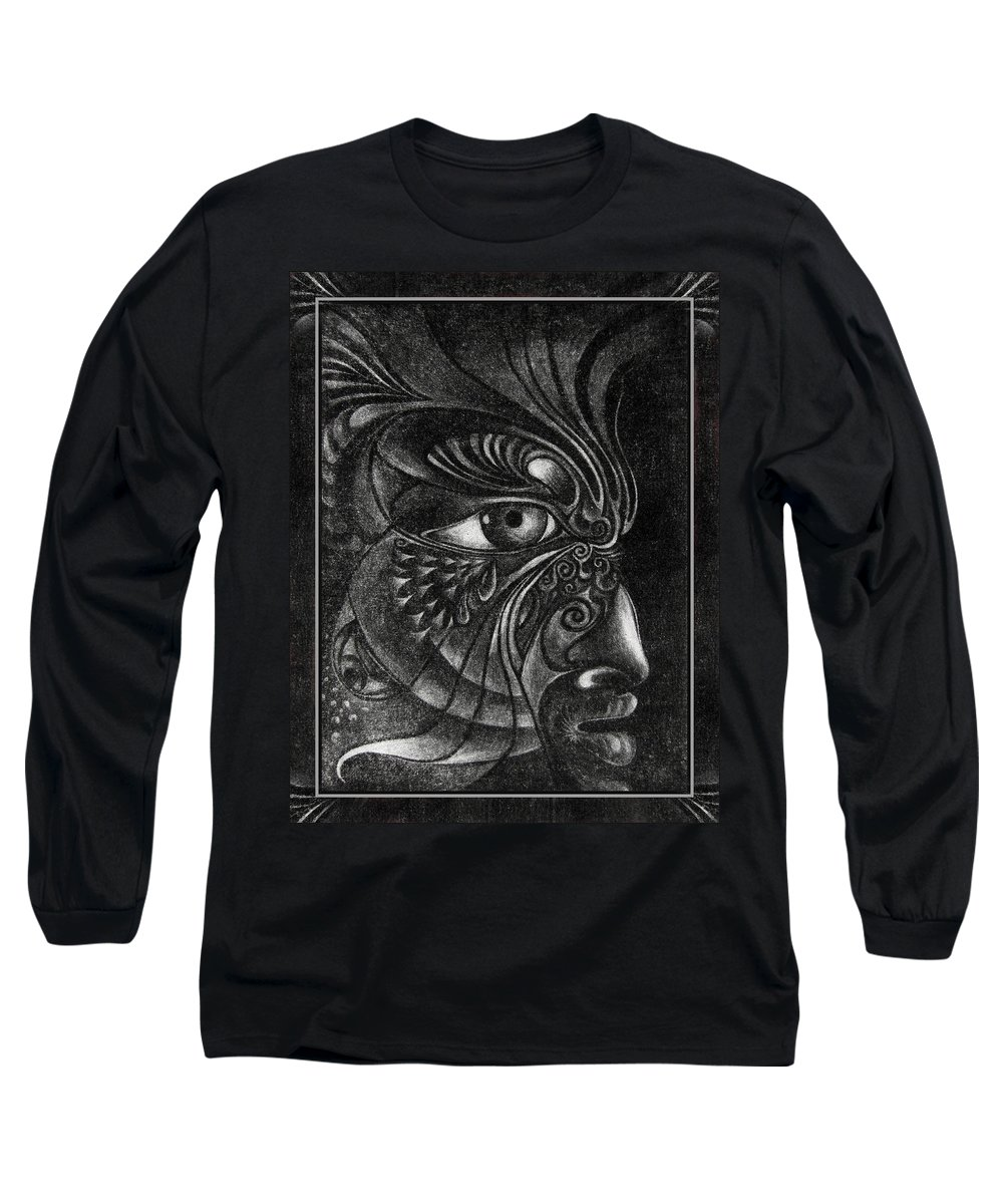 Mezzotint Long Sleeve T-Shirt featuring the drawing Guardian Cherub by Otto Rapp