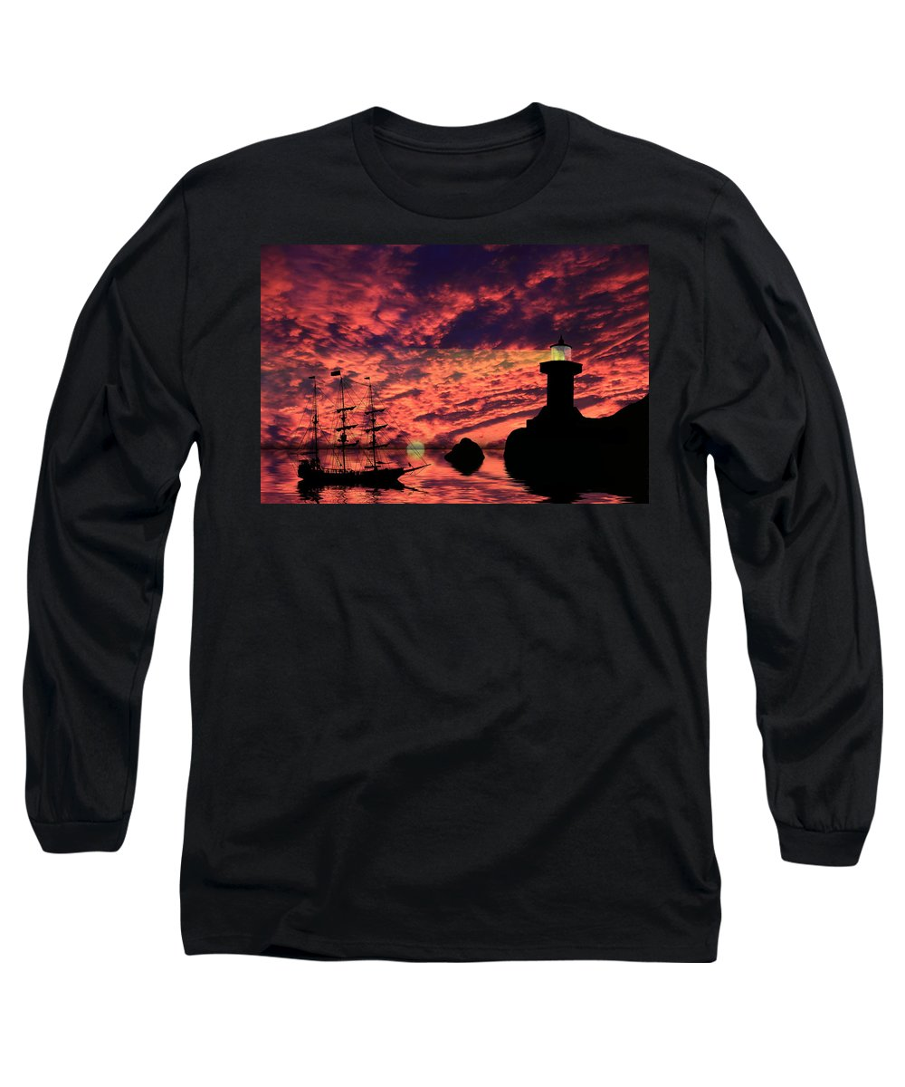 Lighthouse Long Sleeve T-Shirt featuring the photograph Guiding The Way by Shane Bechler