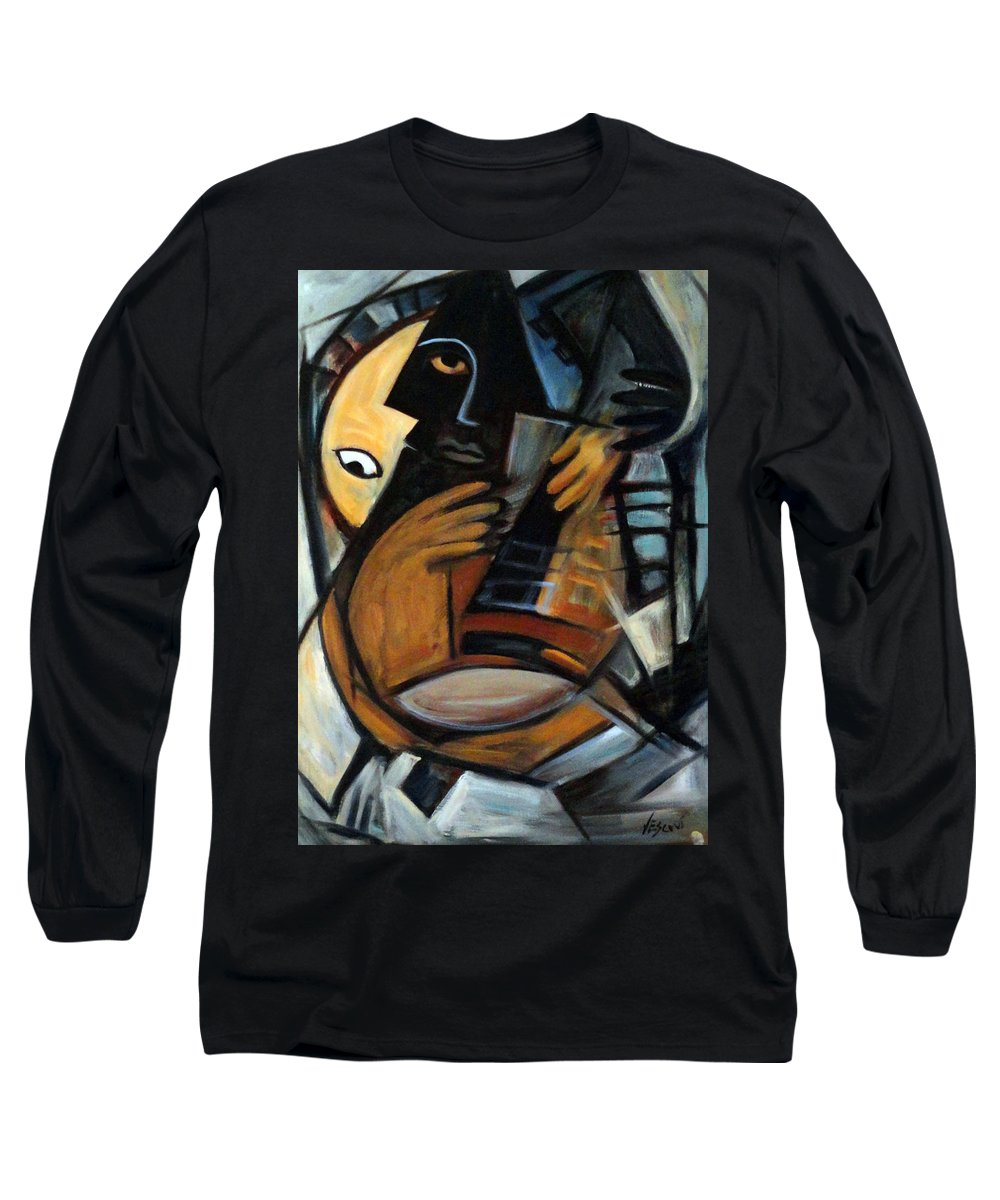 Cubism Long Sleeve T-Shirt featuring the painting Guitarist by Valerie Vescovi