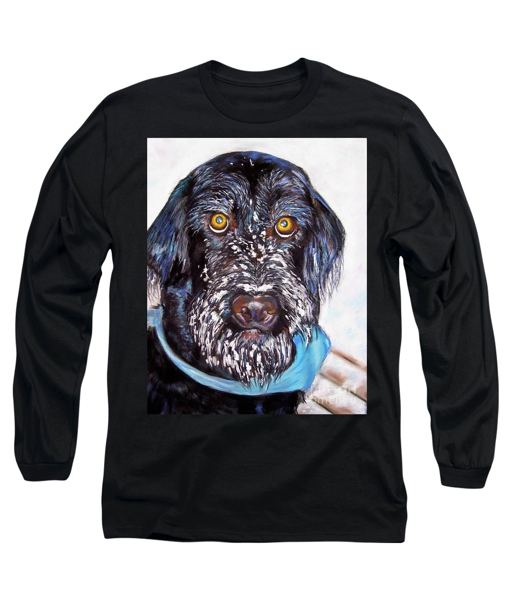 Dog Long Sleeve T-Shirt featuring the painting Gus by Frances Marino