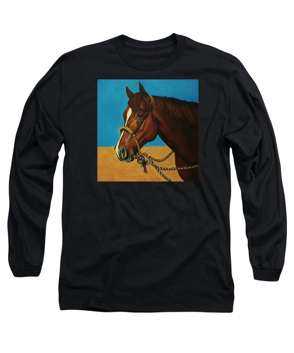 Horse Long Sleeve T-Shirt featuring the painting Hackamore Horse by Lucy Deane