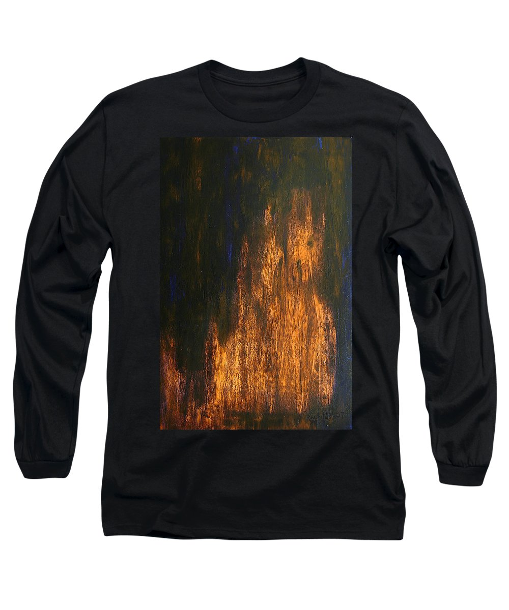 Mystery Long Sleeve T-Shirt featuring the painting Half-faced 2007 by RalphGM