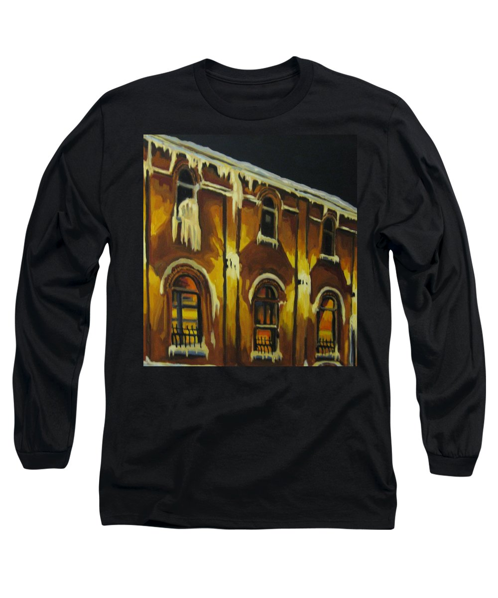 Urban Landscapes Long Sleeve T-Shirt featuring the painting Halifax Ale House In Ice by John Malone