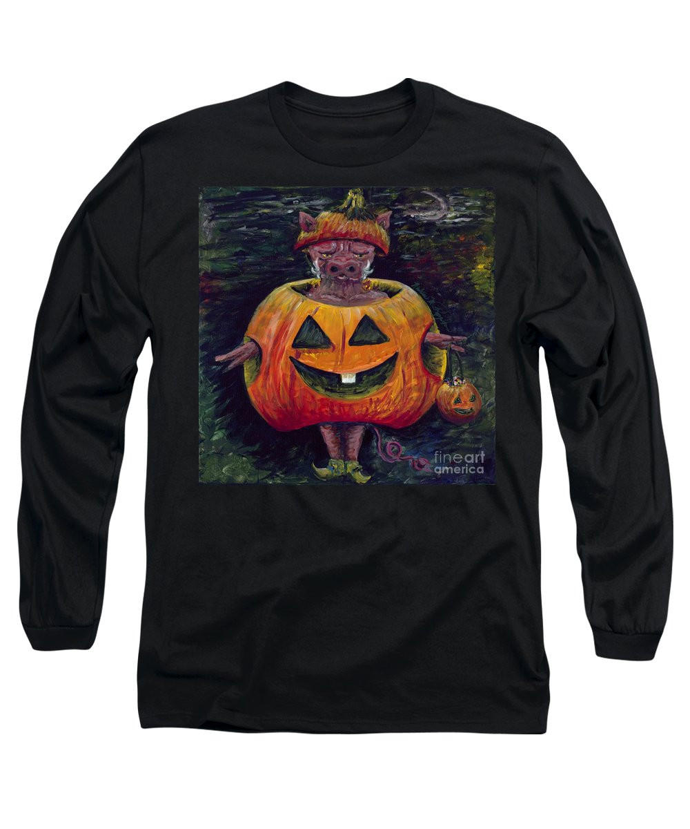 Halloween Long Sleeve T-Shirt featuring the painting Halloween Hog by Nadine Rippelmeyer