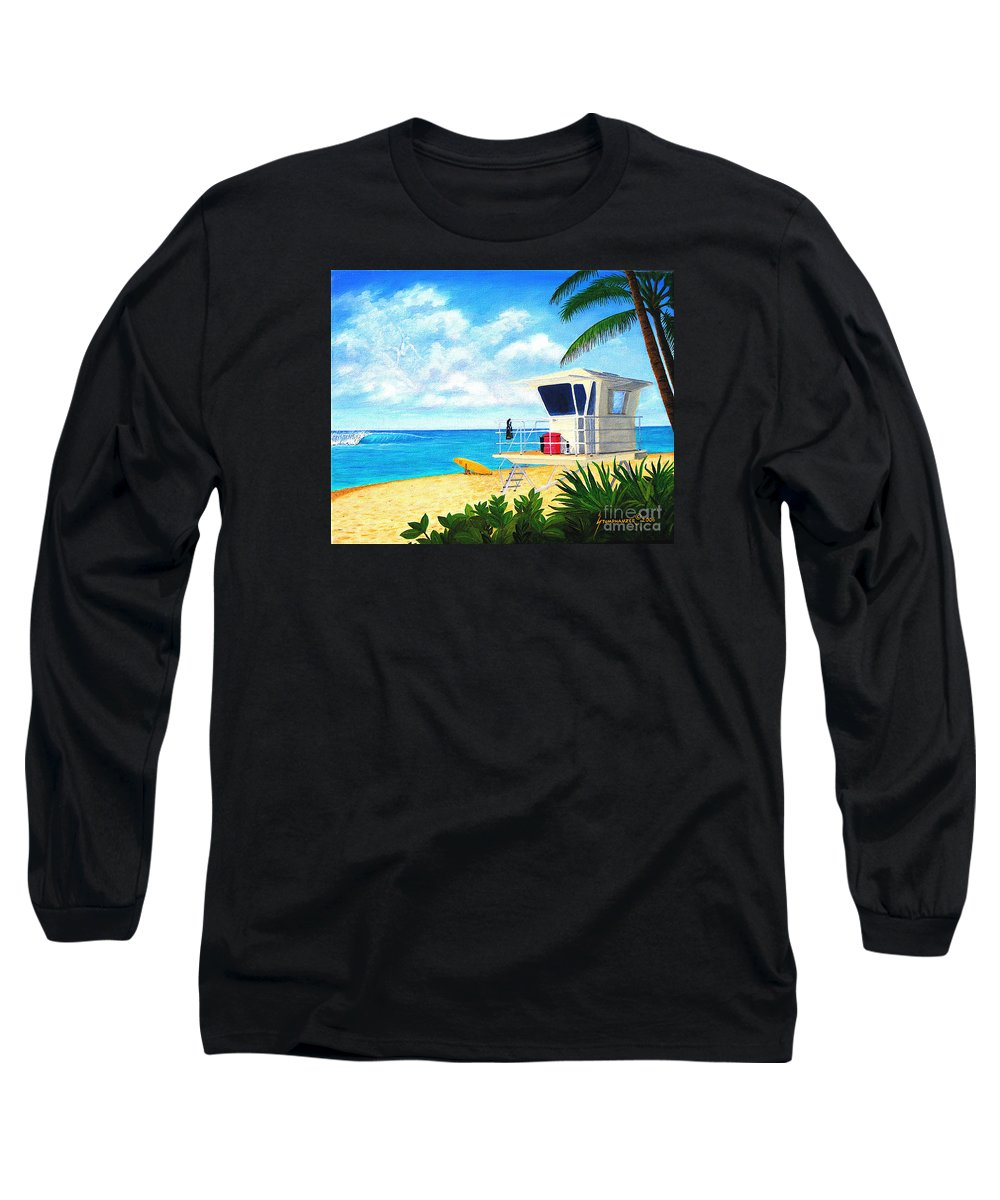 Hawaii Long Sleeve T-Shirt featuring the painting Hawaii North Shore Banzai Pipeline by Jerome Stumphauzer