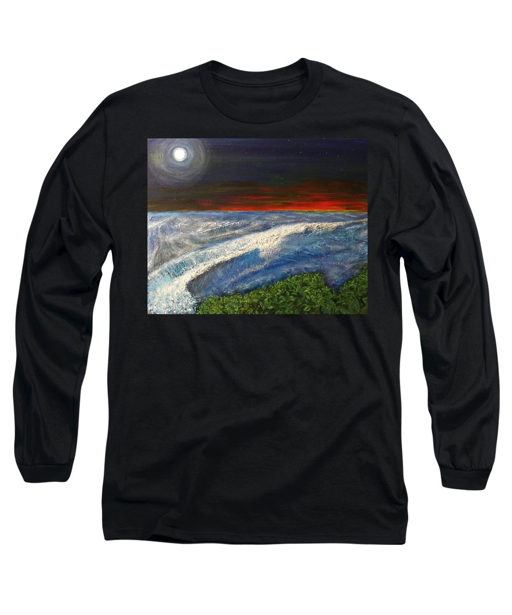 Beaches Long Sleeve T-Shirt featuring the painting Hawiian View by Michael Cuozzo