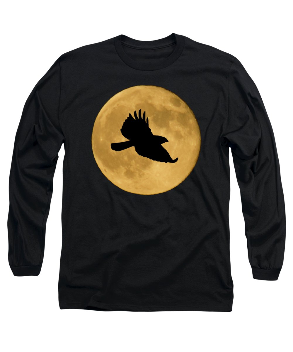 Hawk Long Sleeve T-Shirt featuring the mixed media Hawk Flying By Full Moon by Shane Bechler