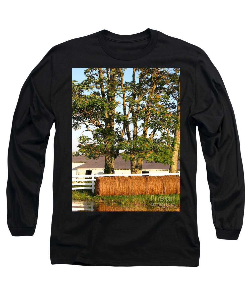 Landscape Long Sleeve T-Shirt featuring the photograph Hay Bales And Trees by Todd A Blanchard