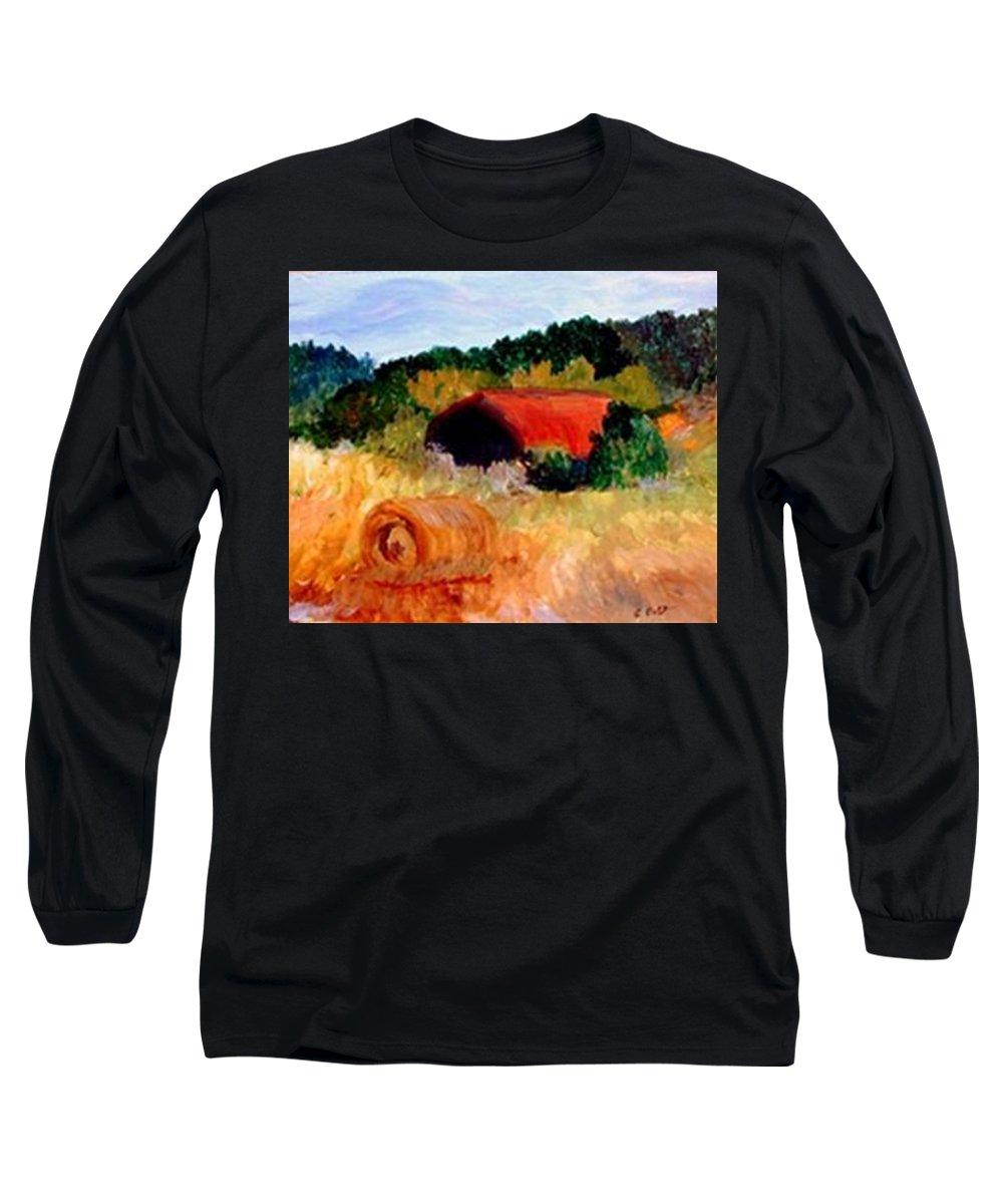 Hayrolls Long Sleeve T-Shirt featuring the painting Hayrolls by Gail Kirtz