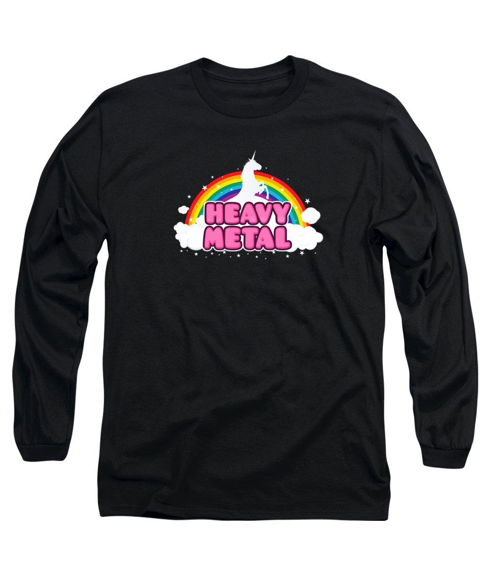 Music Long Sleeve T-Shirt featuring the digital art Heavy Metal Funny Unicorn Rainbow Mosh Parody Design by Philipp Rietz