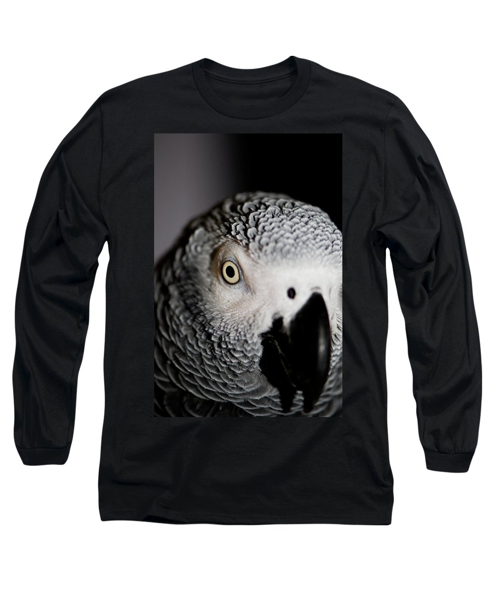 African Gray Parrot Long Sleeve T-Shirt featuring the photograph Heeere's Bogie by Betty LaRue