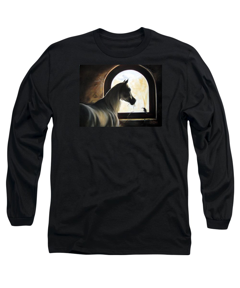 Long Sleeve T-Shirt featuring the painting Helping by Leyla Munteanu