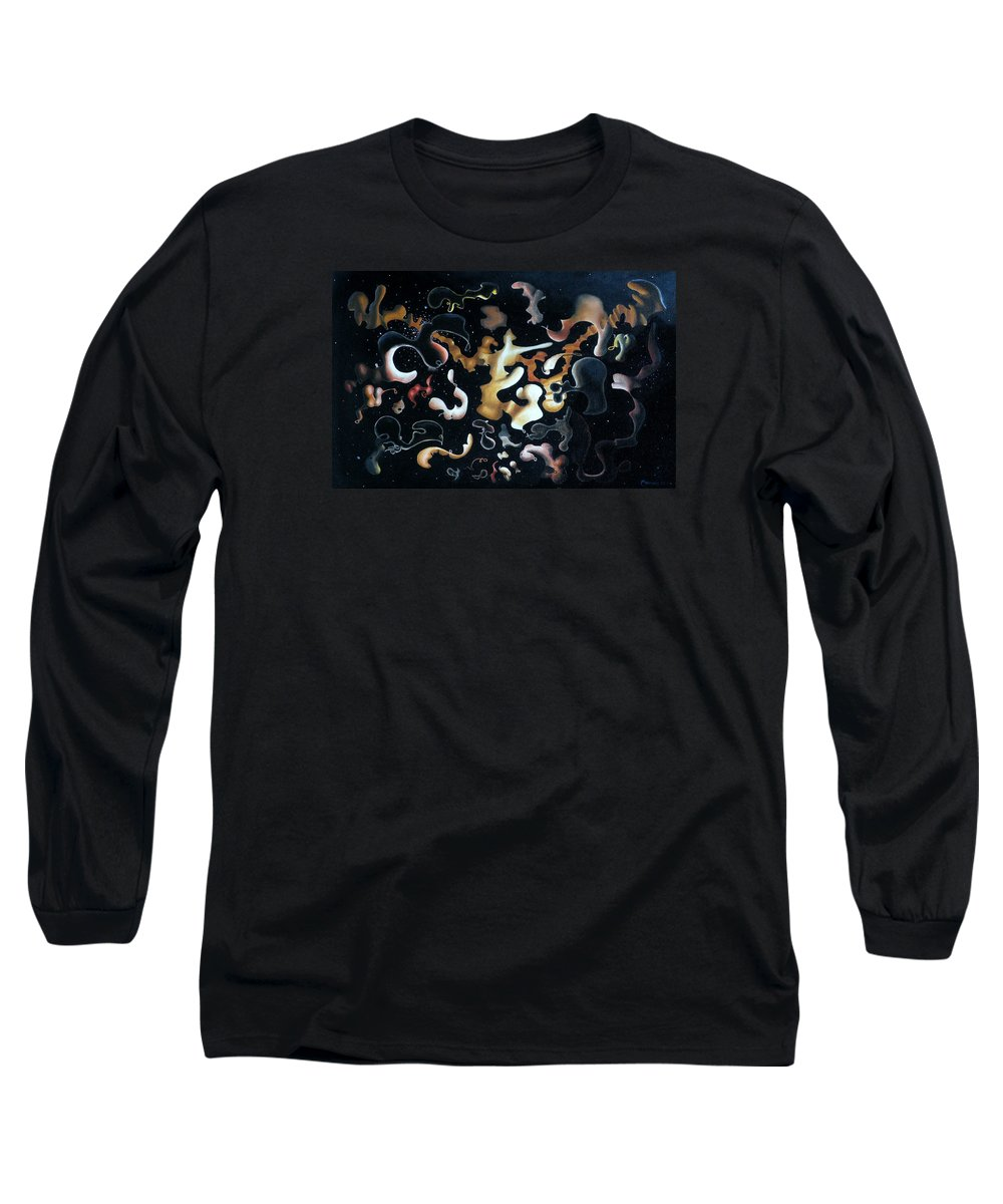 Abstract Long Sleeve T-Shirt featuring the painting Herculean Construction by Dave Martsolf