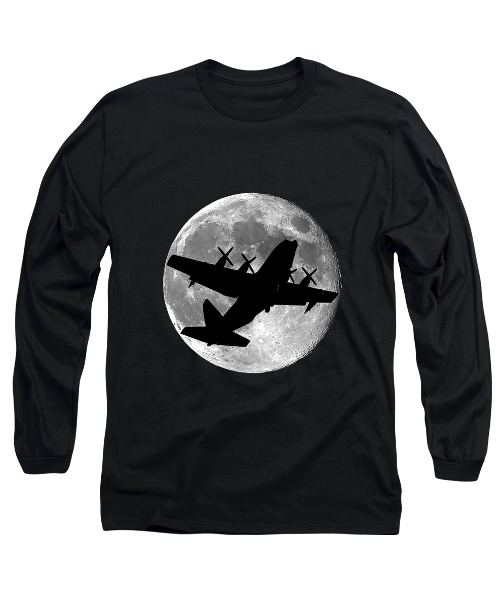 C-130 Hercules Long Sleeve T-Shirt featuring the photograph Hercules Moon .png by Al Powell Photography USA