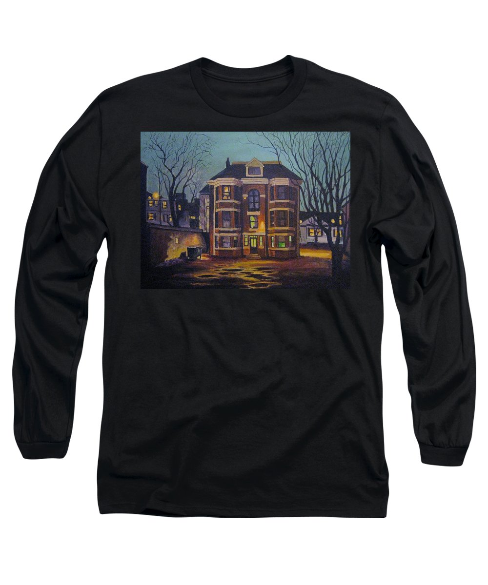 Moody Long Sleeve T-Shirt featuring the painting Historic Property South End Haifax by John Malone