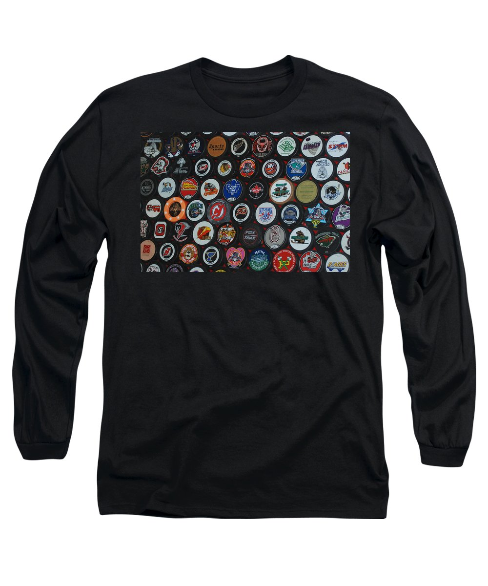 Pop Art Long Sleeve T-Shirt featuring the photograph Hockey Pucks by Rob Hans