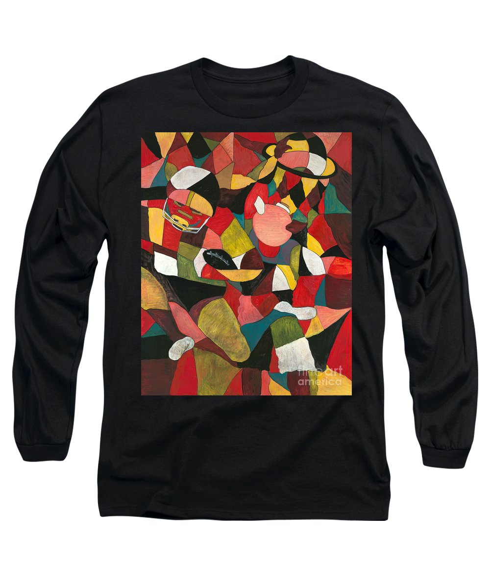 Hog Long Sleeve T-Shirt featuring the painting Hogs Hoops And A Pigskin by Nadine Rippelmeyer