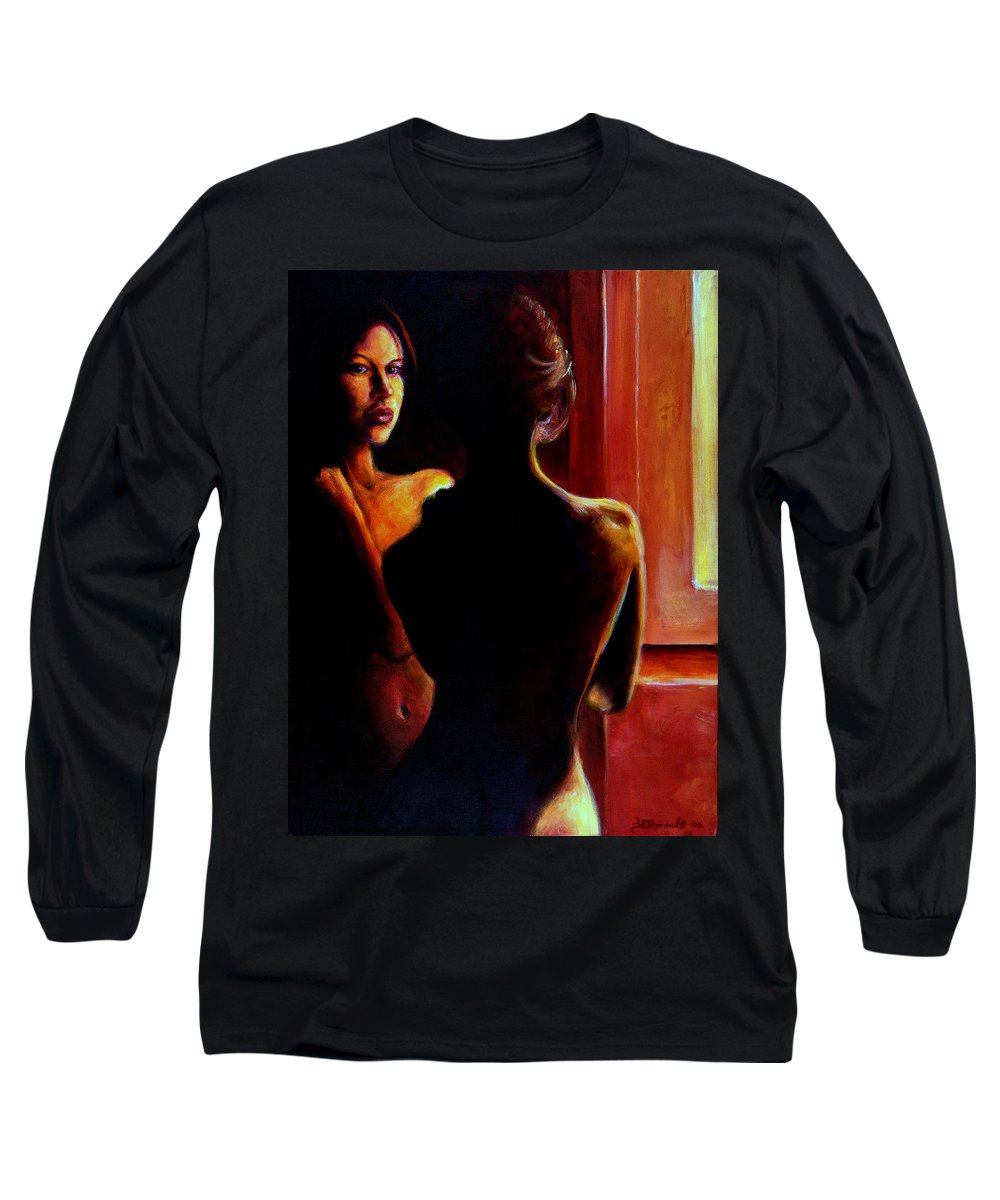 Nude Long Sleeve T-Shirt featuring the painting Honestly by Jason Reinhardt