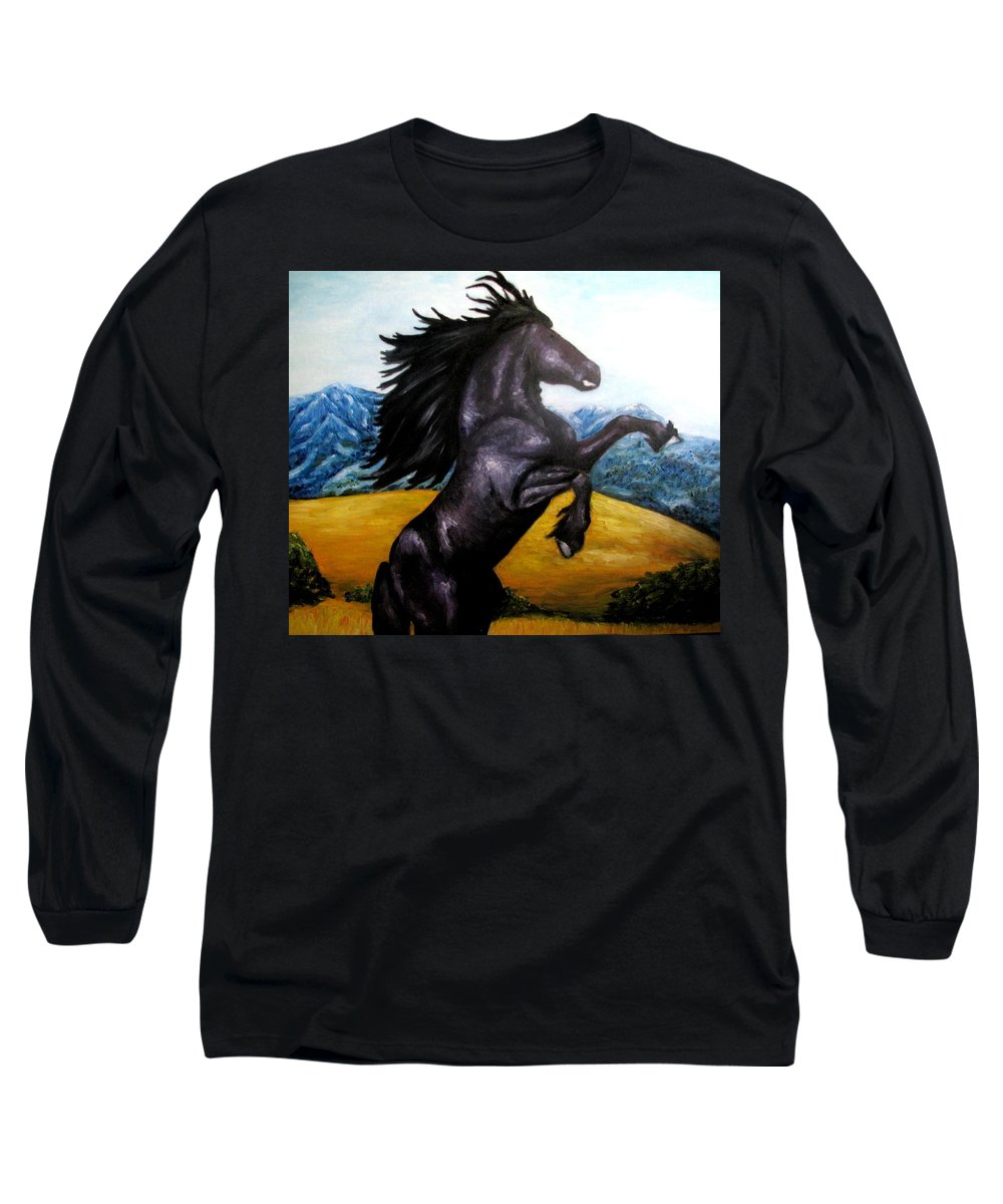 Horse Long Sleeve T-Shirt featuring the painting Horse Oil Painting by Natalja Picugina