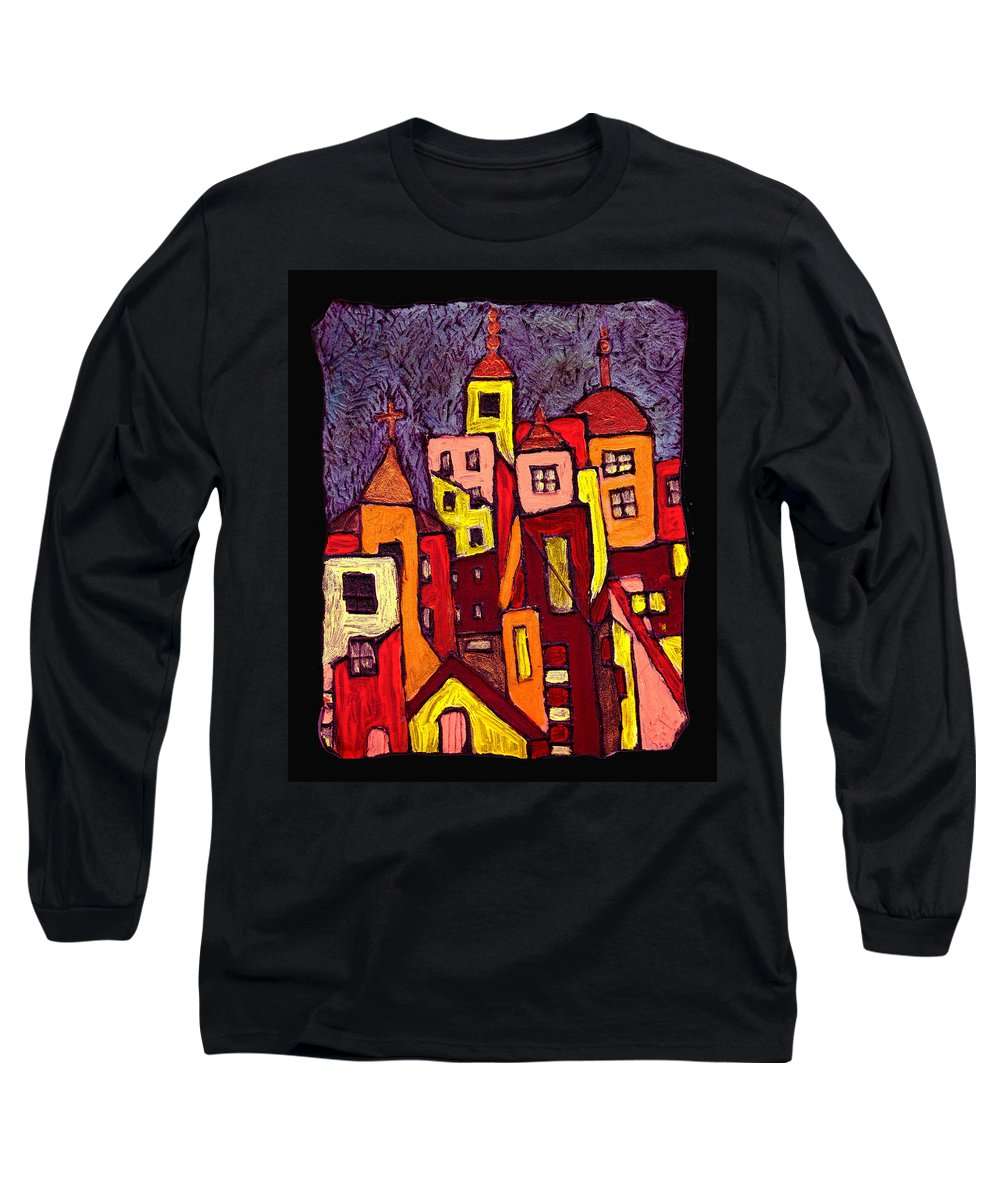 City Scapes Long Sleeve T-Shirt featuring the painting Hot Night In The City by Wayne Potrafka