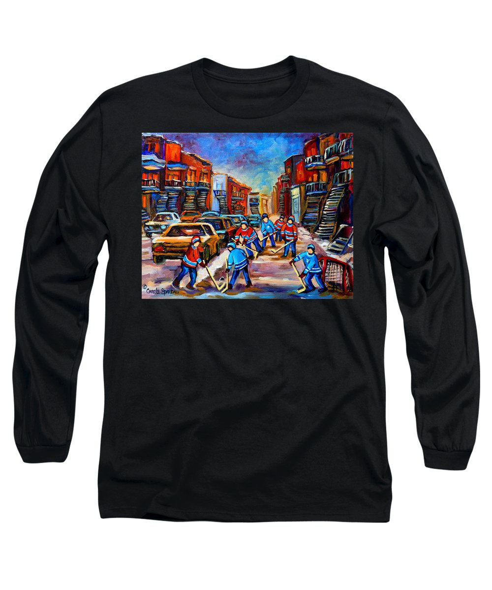 Montreal Long Sleeve T-Shirt featuring the painting Hotel De Ville Montreal Hockey Street Scene by Carole Spandau