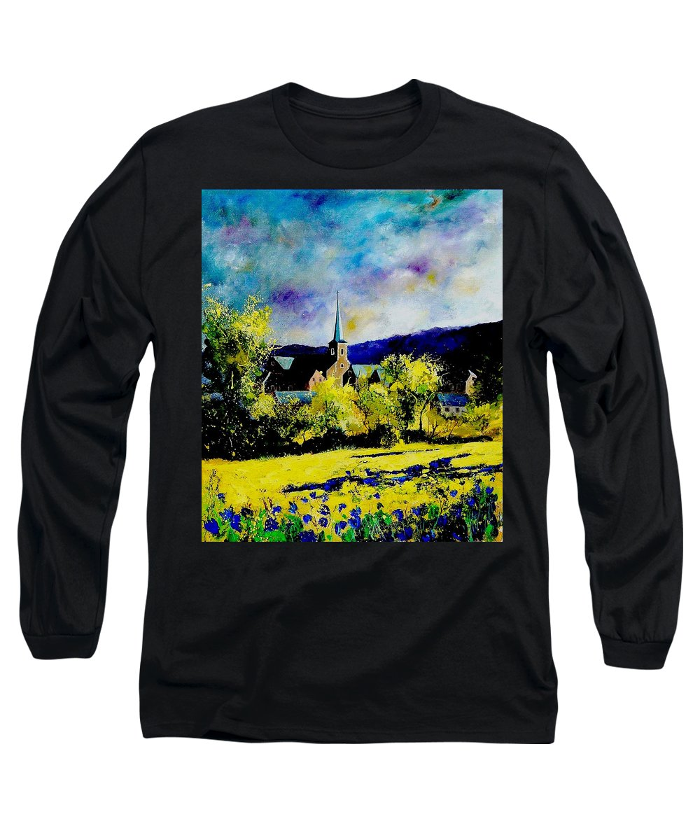 Poppies Long Sleeve T-Shirt featuring the painting Hour Village Belgium by Pol Ledent