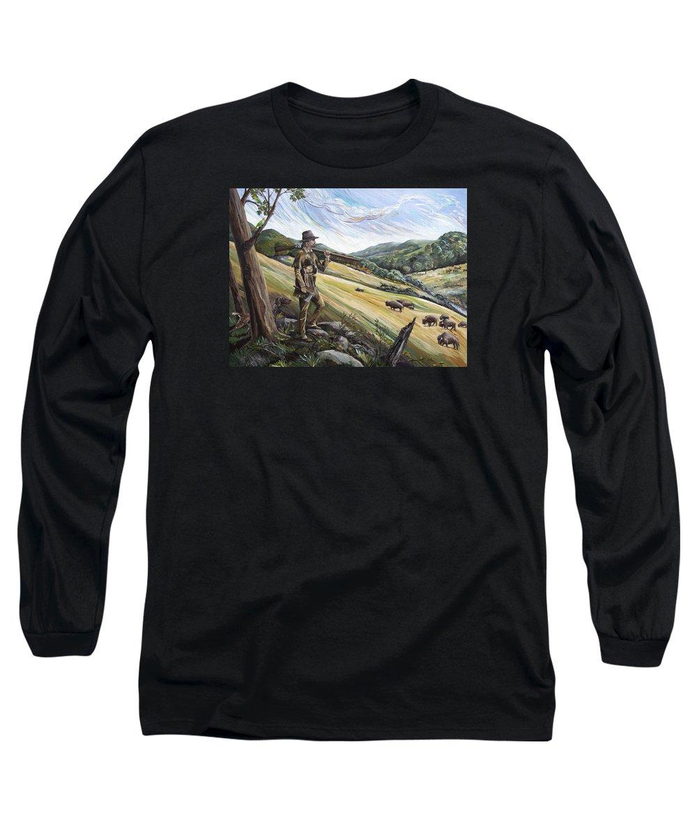Daniel Boone Long Sleeve T-Shirt featuring the painting Hunting The Buffalo by Paula McHugh