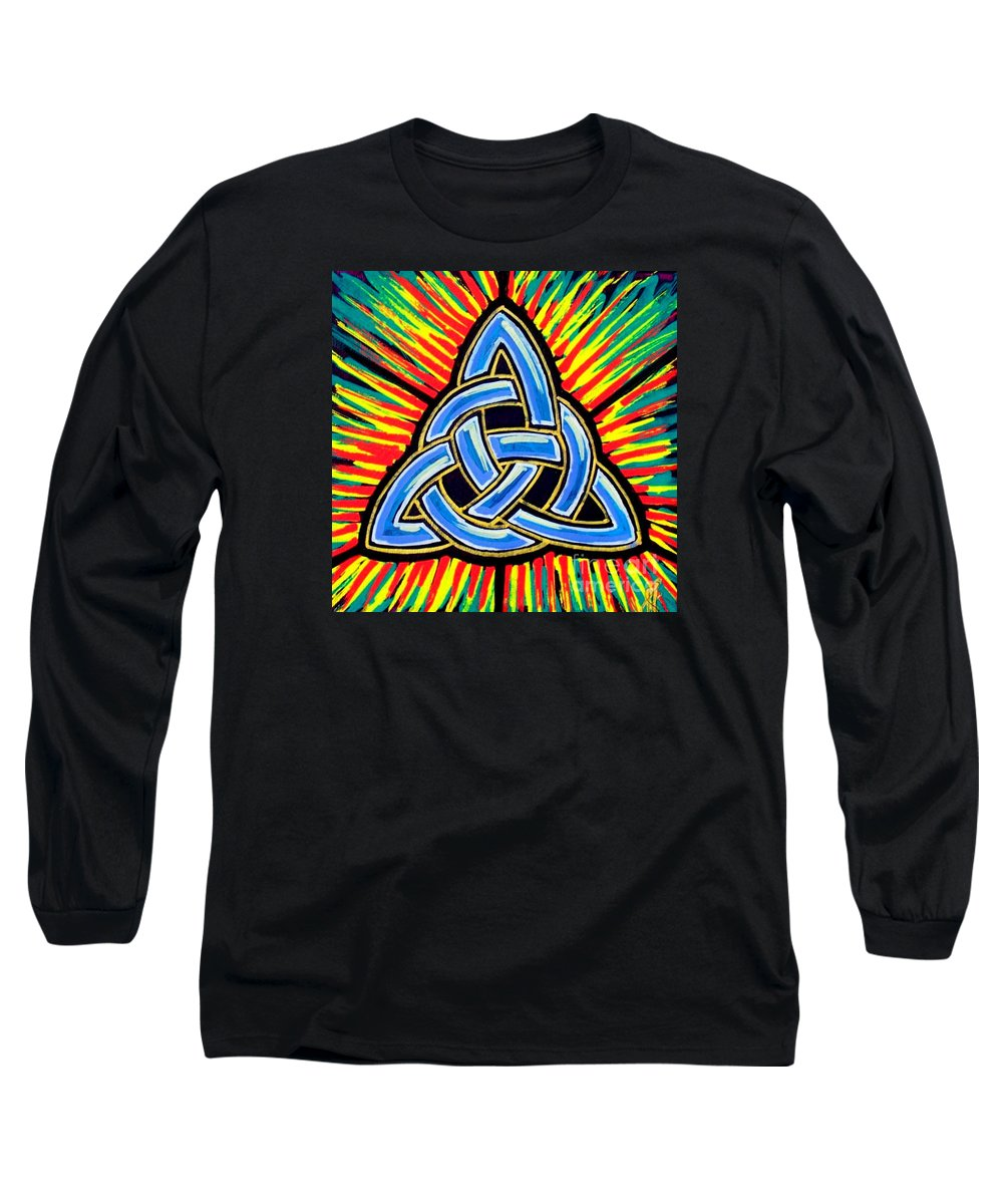 Trinity Long Sleeve T-Shirt featuring the painting Icon Celtic Trinity by Jim Harris