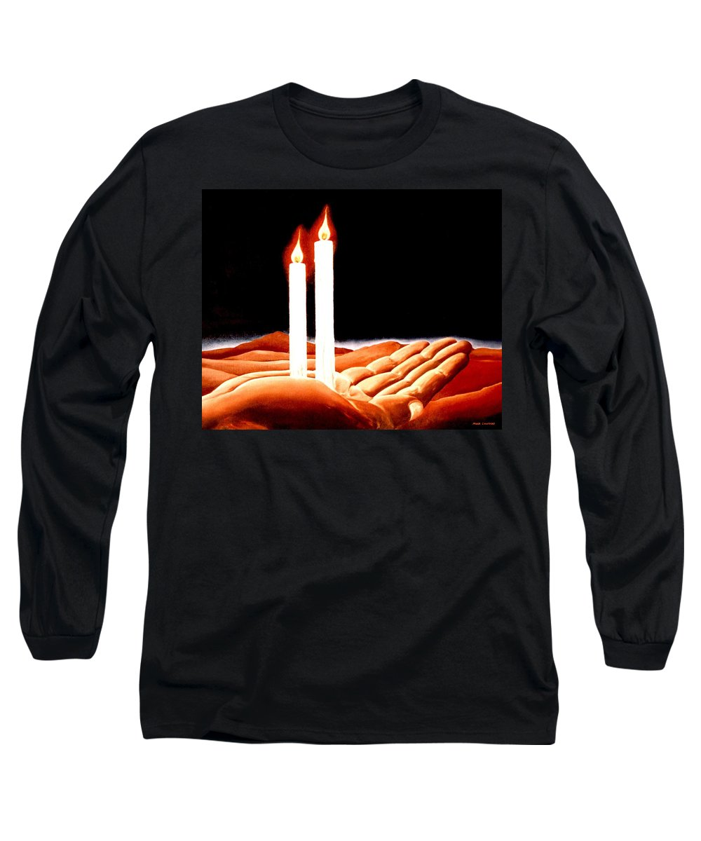 Surreal Long Sleeve T-Shirt featuring the painting Iconoclastic Tears by Mark Cawood