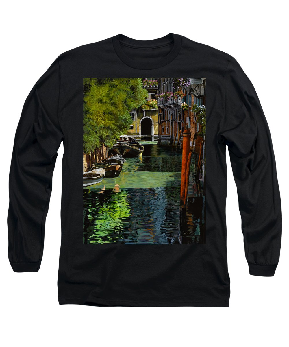 Venice Long Sleeve T-Shirt featuring the painting il palo rosso a Venezia by Guido Borelli