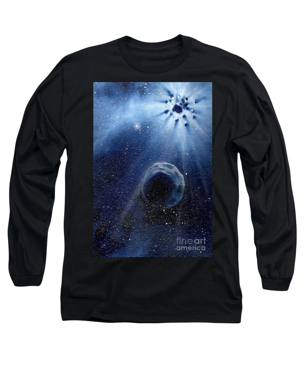 Outerspace Long Sleeve T-Shirt featuring the painting Impressive Impact by Murphy Elliott