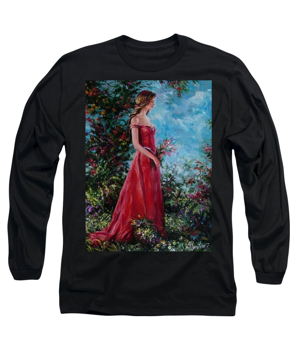 Figurative Long Sleeve T-Shirt featuring the painting In Summer Garden by Sergey Ignatenko
