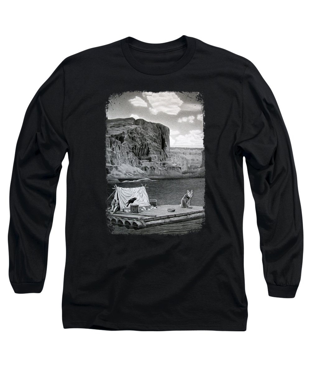 Grand Canyon Long Sleeve T-Shirt featuring the drawing In The Grand Canyon by Miro Gradinscak