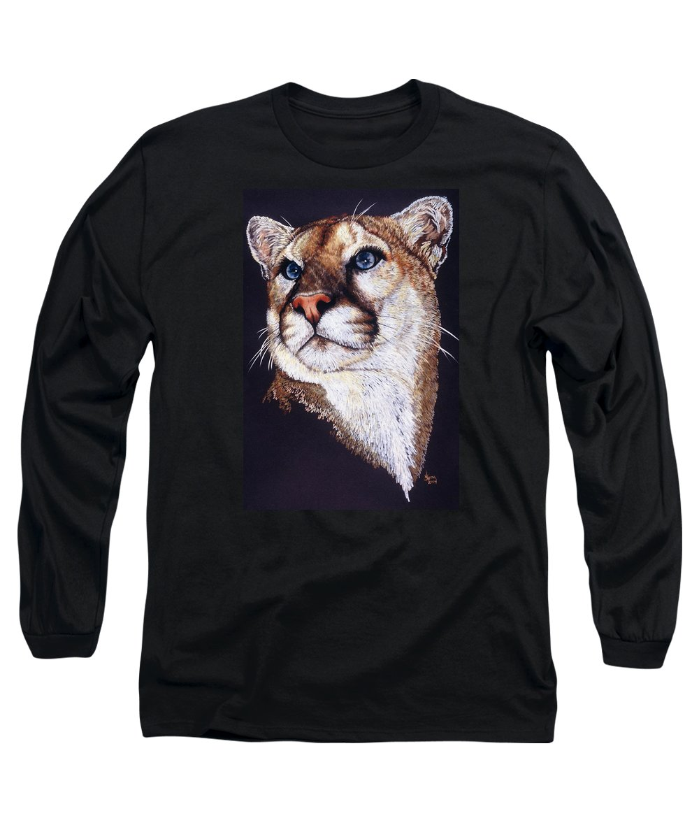 Cougar Long Sleeve T-Shirt featuring the drawing Intense by Barbara Keith