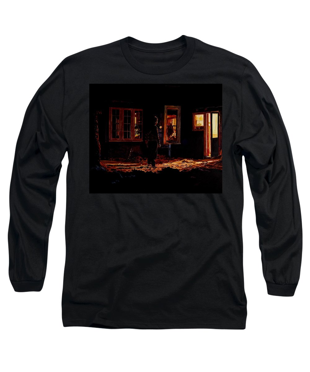 Night Long Sleeve T-Shirt featuring the painting Into The Night by Valerie Patterson