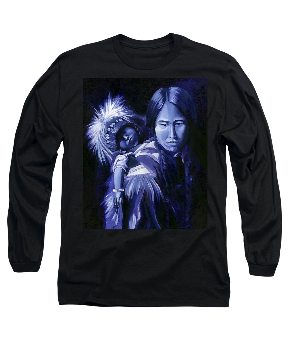 Native American Long Sleeve T-Shirt featuring the painting Inuit Mother And Child by Nancy Griswold