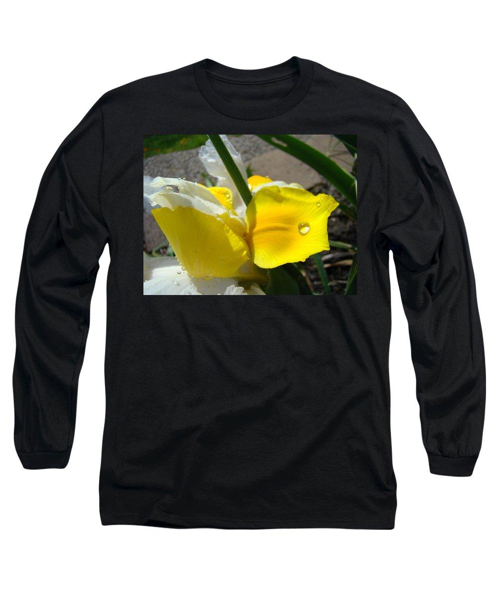 �irises Artwork� Long Sleeve T-Shirt featuring the photograph Irises Artwork Iris Flowers Art Prints Flower Rain Drops Floral Botanical Art Baslee Troutman by Baslee Troutman