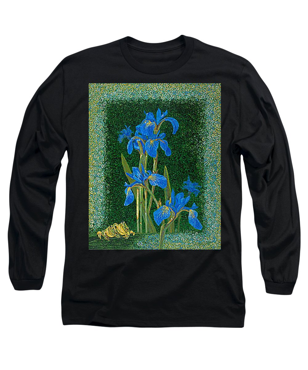 Irises Long Sleeve T-Shirt featuring the painting Irises Blue Flowers Lucky Love Frog Friends Fine Art Print Giclee High Quality Exceptional Colors by Baslee Troutman