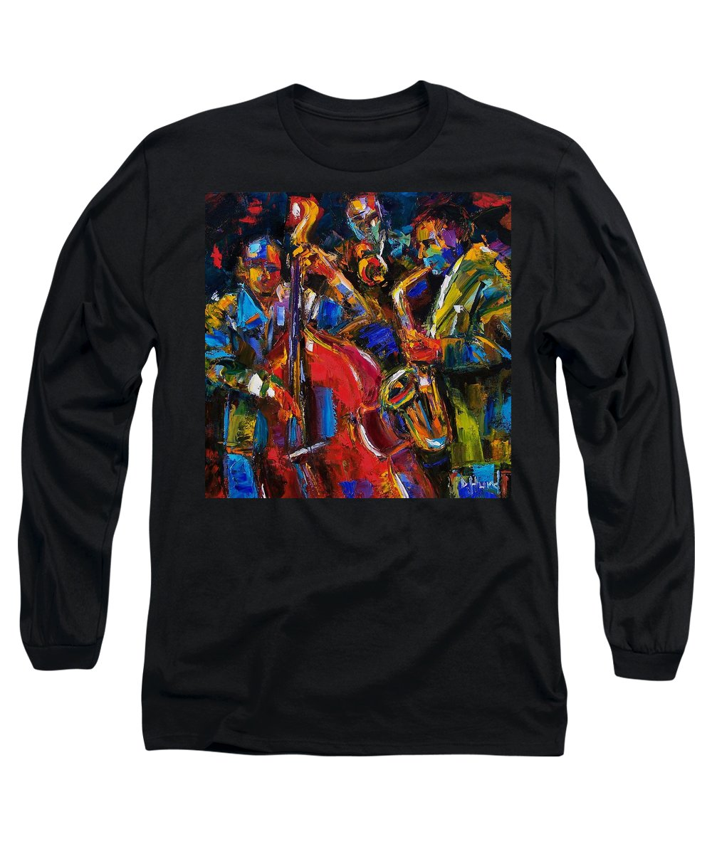 Jazz Long Sleeve T-Shirt featuring the painting Jazz by Debra Hurd