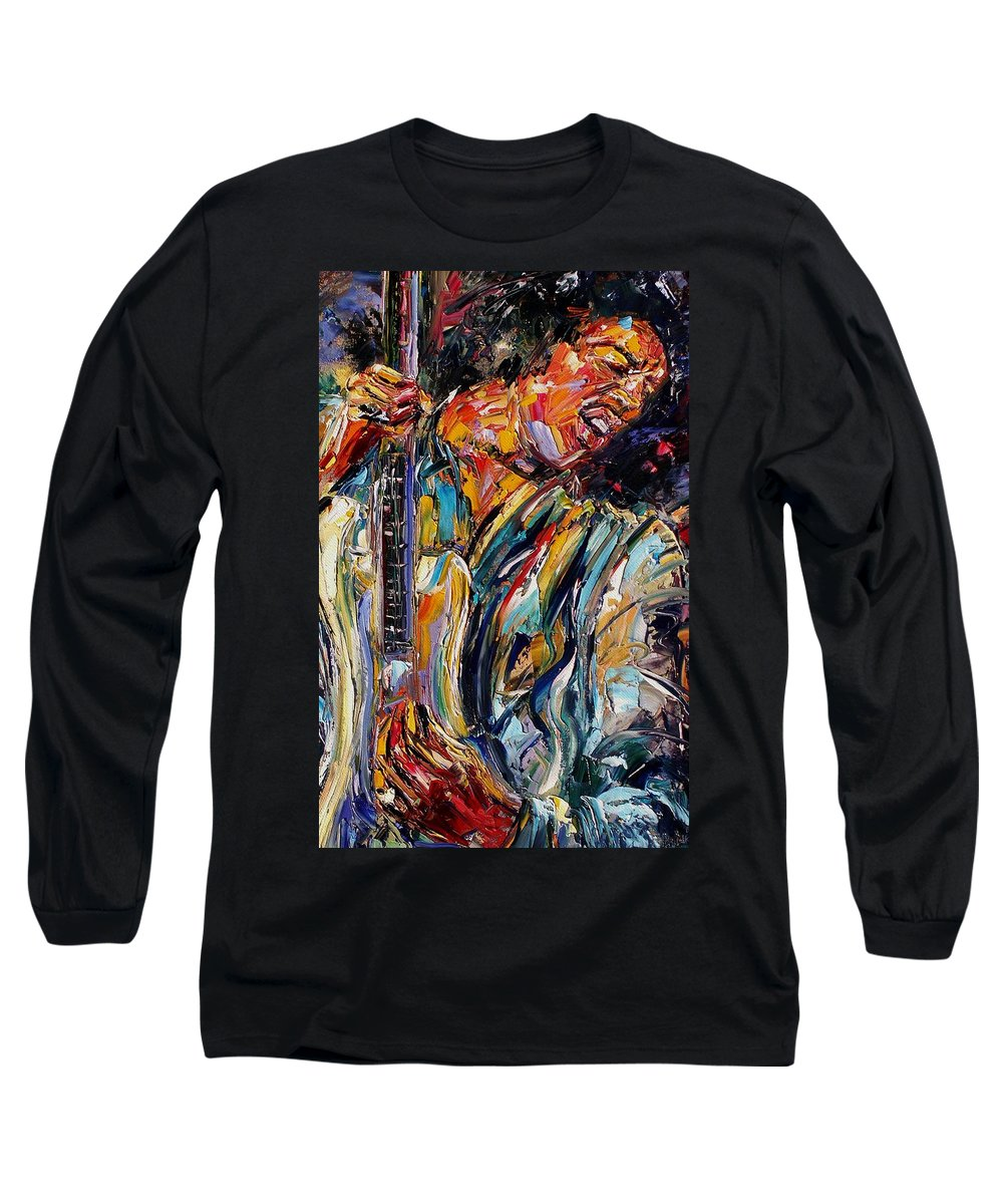 Jimi Hendrix Painting Long Sleeve T-Shirt featuring the painting Jimi Hendrix by Debra Hurd